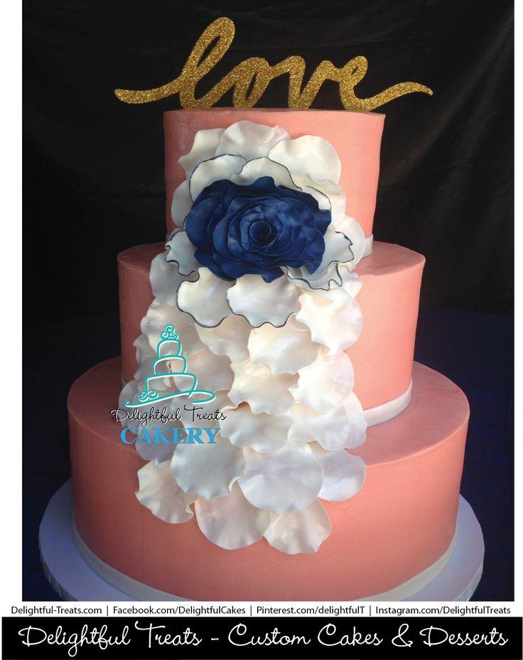 Coral and Navy Blue Cascading Fondant Petals Wedding Cake by Delightful Treats Cakery Orlando  #DelightfulTreats #Cakery #Orlando #OrlandoCakes #WeddingCakes #Coral #NavyBlue #Cascading #Fondant #Petals #CustomWeddingCake #CakeArt #CakeDesign #CakeInspiration #ButterCreamCake #FloridaWeddings #Bride #Love #cakeLove #ArtOfCake