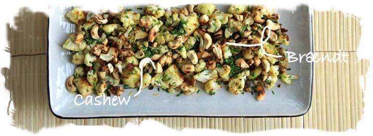 Stegt Blomkaal med Citronskal og Braendte Cashew nødder