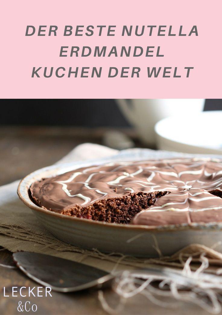 Rezept für diesen Wahnsinns Kuchen - Nutella Erdmandel Kuchen mit Kirschen