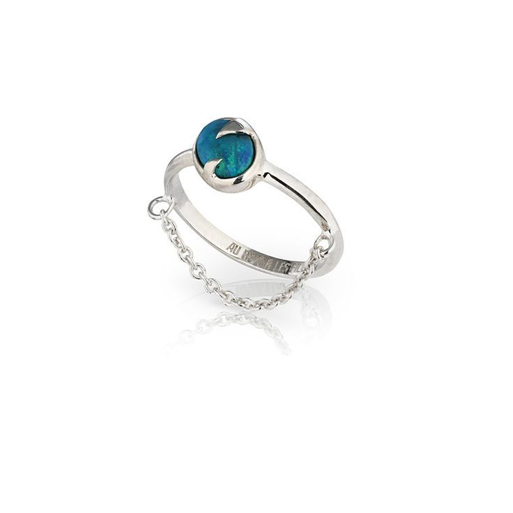 Blue opal silver ring with fine chain   Capturing the azure blue of the ocean in an iridescent Australia blue opal   SURRENDER RING   Sterling silver with Australian blue opal   Au Revoir Les Filles   Click to shop