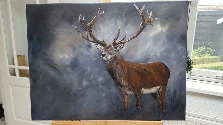 Schilderij 'Edelhert' 60x80cm acrylverf afgewerkt met zijdeglans vernis  www.schilderijenbydini.com
