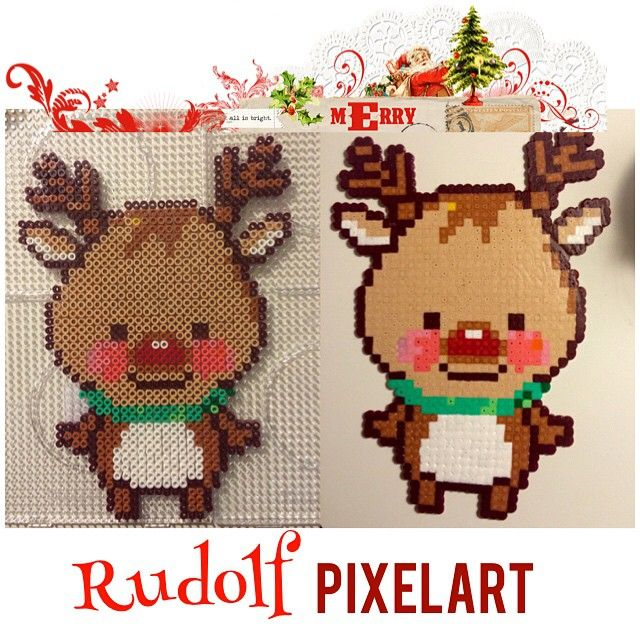 Christmas Rudolph perler beads by creativesanna