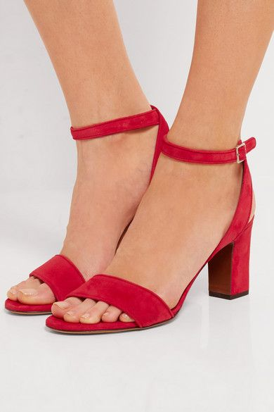 Heel measures approximately 75mm/ 3 inches Red suede Buckle-fastening ankle strap Made in Italy