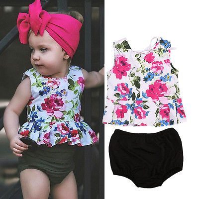 >> Click to Buy << Toddler Infant Baby Girls Ruffles Flower Vest Sleeveless Tops Pants Shorts 2pcs Outfits Set Clothes 0-24M #Affiliate