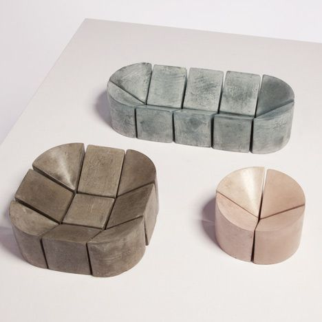 PHILIPPE MALOUIN, 1:4 WAXED CONCRETE BOWLS: genius indented shapes and such great colors too.