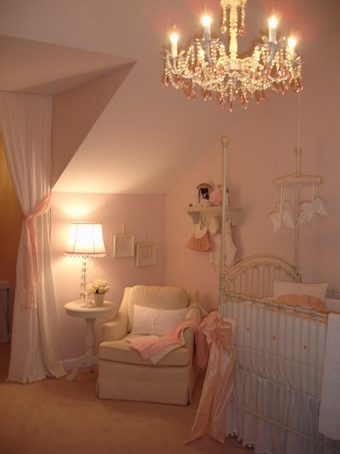 Nurseries for baby girls, love the chandelier!