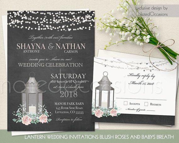 rustic wedding invitation set metal lantern blush wedding babys breath country wedding chalkboard string lights printable - Lantern Wedding Invitations