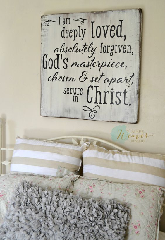 I am deeply loved, absolutely forgiven, God's masterpiece, chosen & set apart, secure in Christ | wood sign by Aimee Weaver Designs