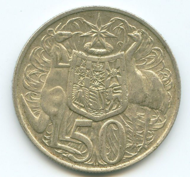 1966: Australian 50 cent piece. Actually made of silver-most disappeared from Australia when price if silver skyrocketed,about 50 years ago.