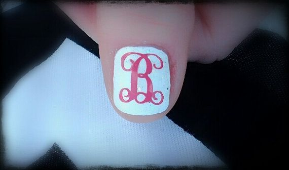 Single Letter Monogram Nail Decals set of 12 choice by aLwAyScCd, $4.50