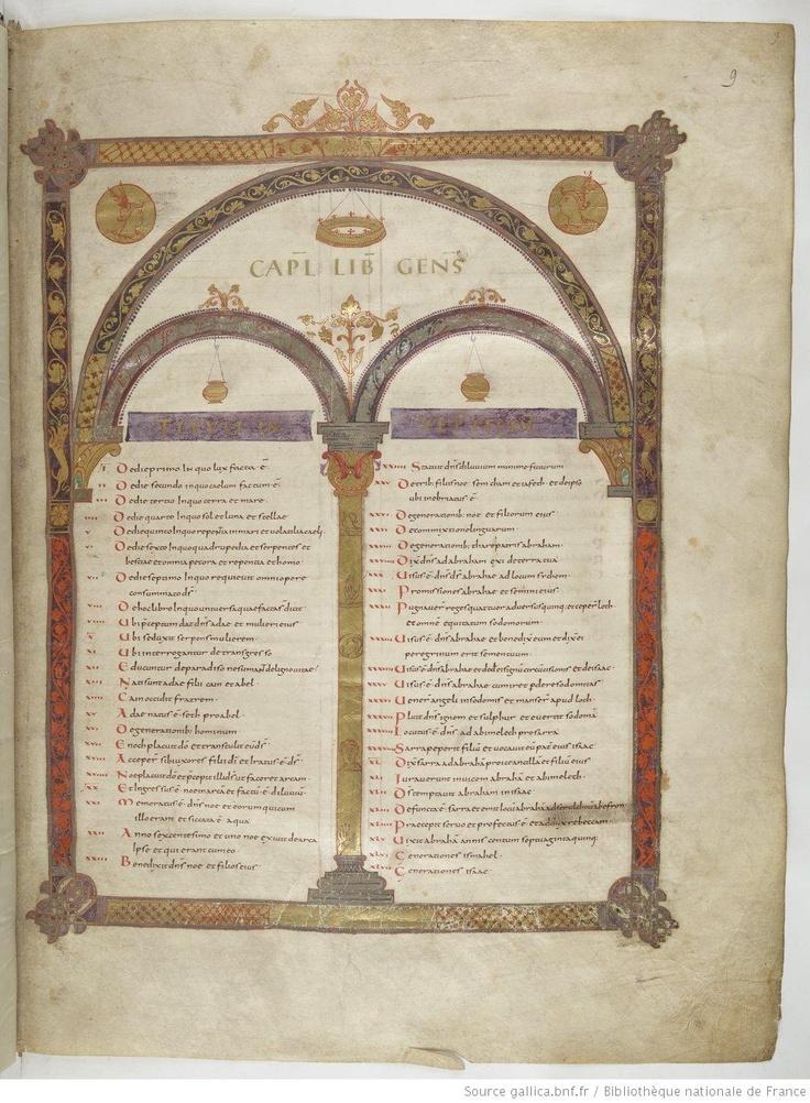 Sommaire du livre de la Genèse - Bible de Vivien, dite Première Bible de Charles le Chauve, Abbaye Saint-Martin de Tours, v. 845 - Paris, BnF, Lat. 1, fol. 9r