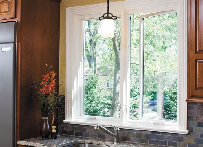 White pella proline casement windows contrast against for Pella casement window screens