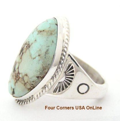 Men's Dry Creek Turquoise Ring Size 12 3/4 Four Corners USA Online Native American Artisan Jewelry NAR-1407, $245.00 (http://stores.fourcornersusaonline.com/mens-dry-creek-turquoise-ring-size-12-3-4-navajo-tony-garcia-american-indian-silver-jewelry-nar-1407/)