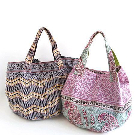 various shop ヴァリアスショップ ブロックプリントのトートバッグ - アジアン衣料・アジアン雑貨のRisi e bisi(リジェビジ)