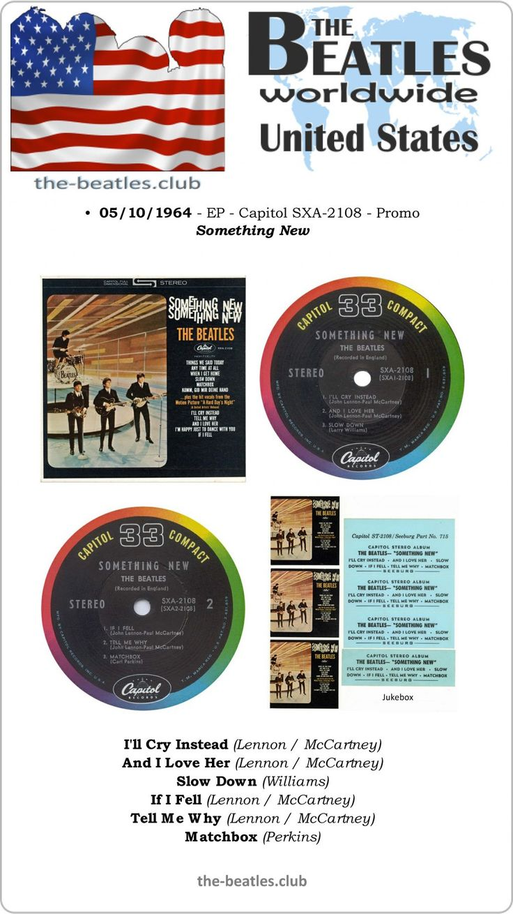 The Beatles US EP Capitol SXA-2108 Promo Something New I'll Cry Instead And I Love Her Slow Down If I Fell Tell Me Why Matchbox Lyrics Vinyl Record Discography