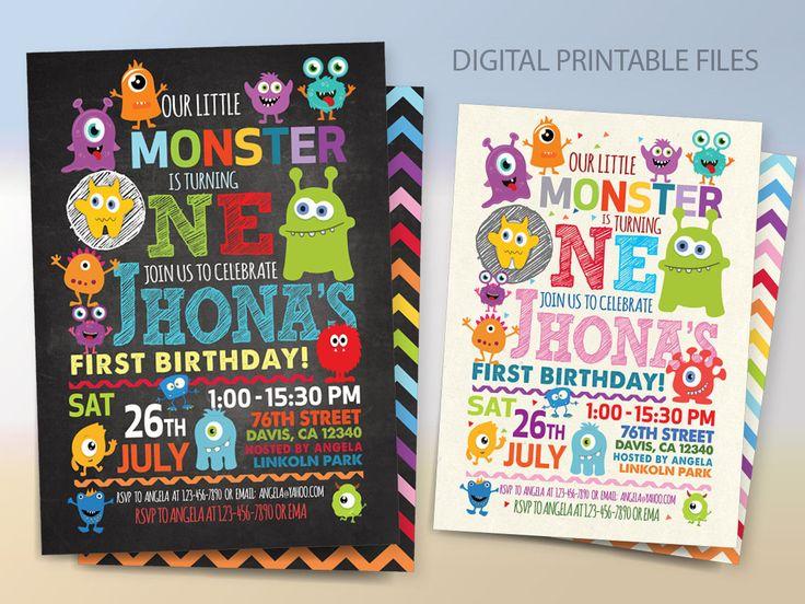 Monster Birthday Party Invitation, Monster Birthday Invitation, Monster Party, Little Monster 1st Birthday by BlueTulipStudio on Etsy