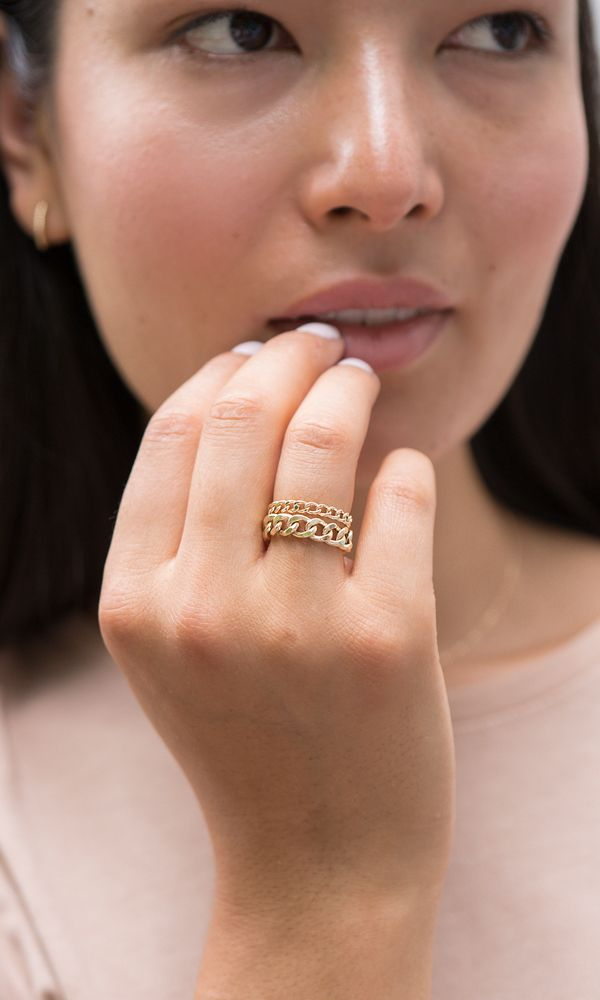 Bold Chain Ring Fashion Rings How To Wear Rings Gold Bracelet