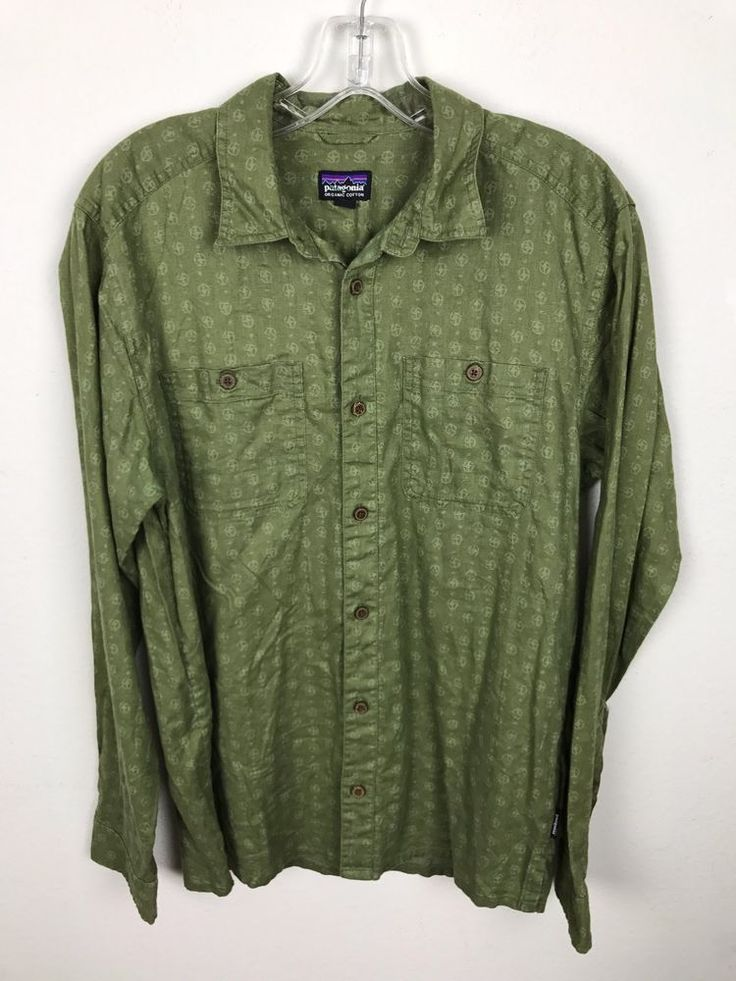 Patagonia Shirt Size S Green Cotton Casual Long Sleeve Geometric Print Mens #Patagonia #ButtonFront
