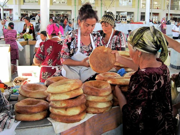 Central Asian bread for sale in the Siob Bazaar at Samarkand, Uzbekistan.