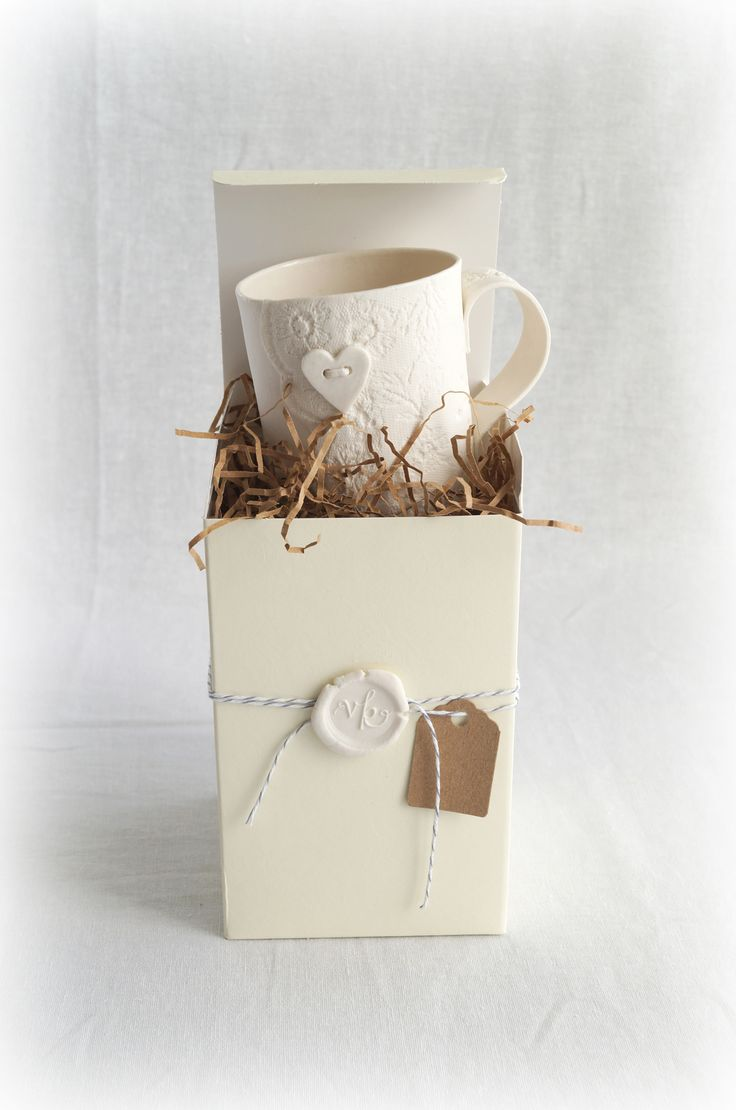 Beautiful packaging for a beautiful lace porcelain mug by VanillaKiln ceramics #vanillaKiln #ceramics #porcelain