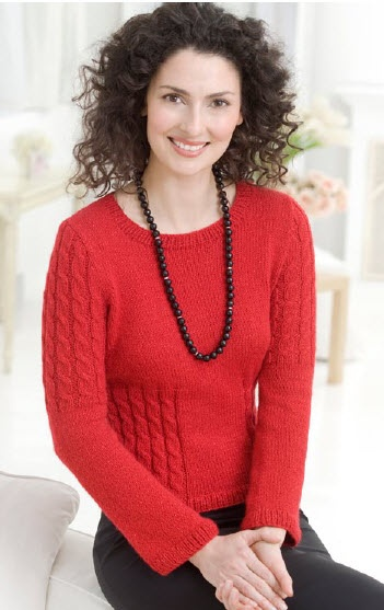 Knitting Pattern Heart Sweater : Red Heart  Shimmer Cable Sweater - free pattern Knitting ...