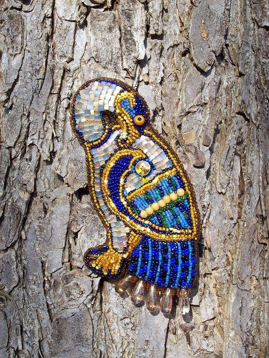 """Брошь """"Дикий гусь"""". Создана по рисункам из Книги Кельтов. Вышивка бисером. Brooch """"Wild Goose"""". Created on figures from the Book of the Celts. Beadwork."""