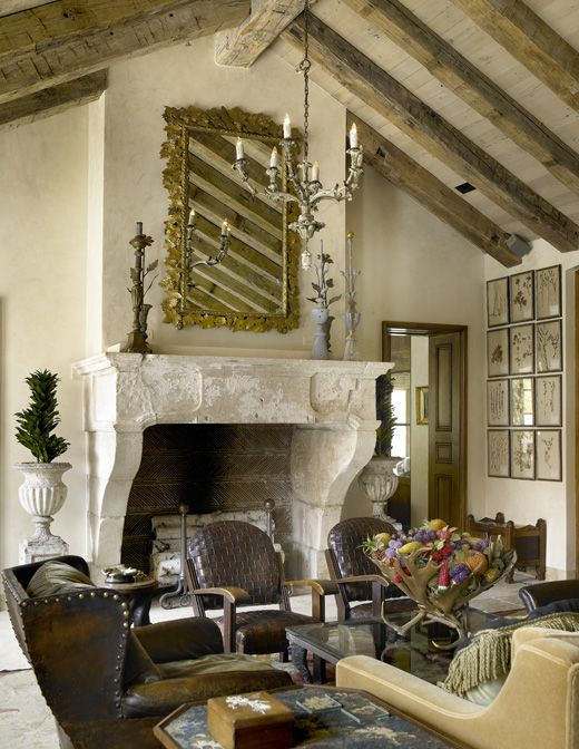 17th century fireplace from stone carver Jean Chabaud