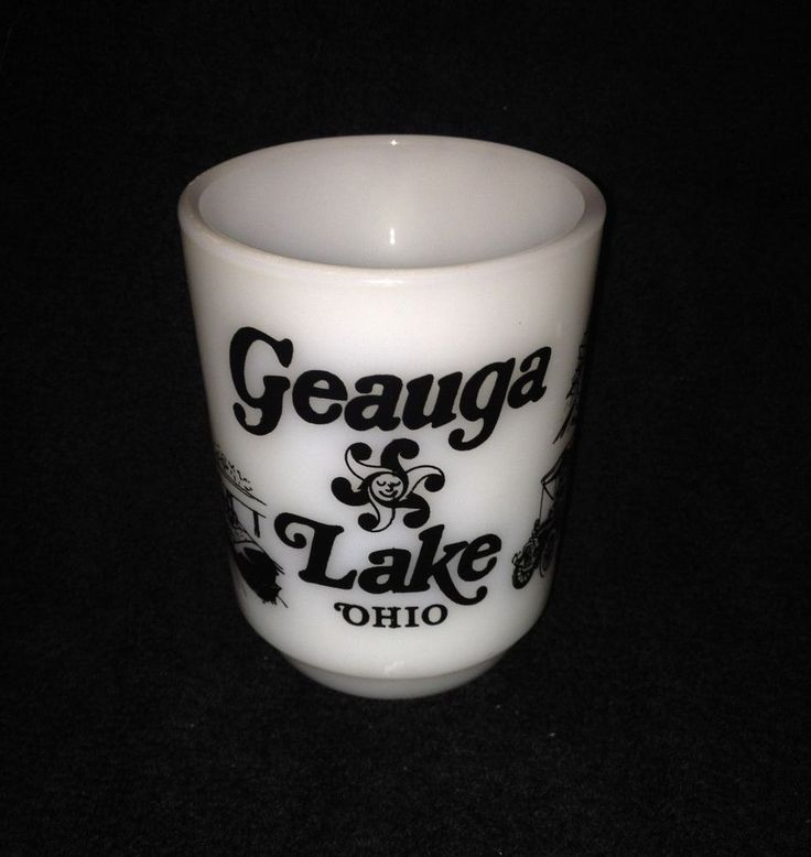 Geauga Lake Amusement Park Coffee Cup Milk Glass Ohio Roller-coaster Antique Car #unknown
