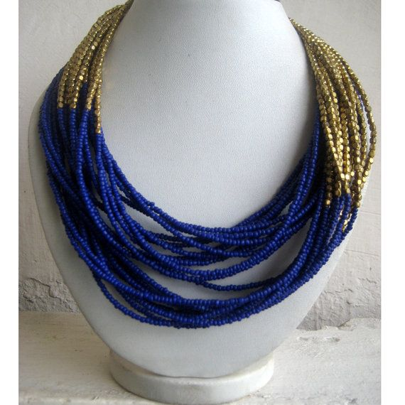 Statement Necklace Blue/Multi Strand Necklace/Chunky by FootSoles, $28.10