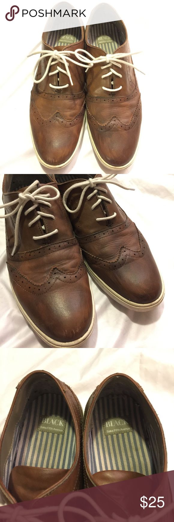 Saks Fifth Ave Men's Brown Leather Shoes Sz 11.5 Saks Fifth Avenue Black Label Men's casual brown leather shoes. Size 11.5 but runs slightly large and fits more like a true 12... Used condition but still had a lot of life left. Saks Fifth Avenue Black Label Shoes Oxfords & Derbys