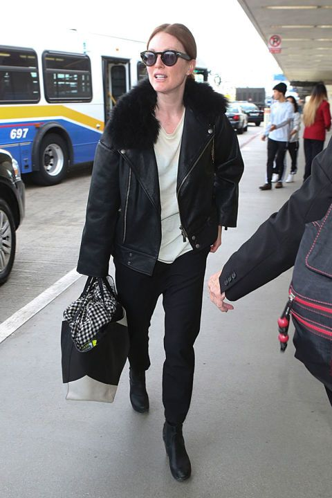 How to dress for the airport, demonstrated by your favorite celebrities, including Julianne Moore.