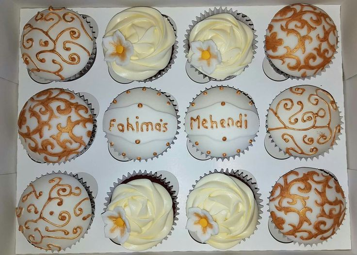 Cupcake for a.young ladies Mehendi. Elegant and delicious. Red velvet cake always makes any occasion special.