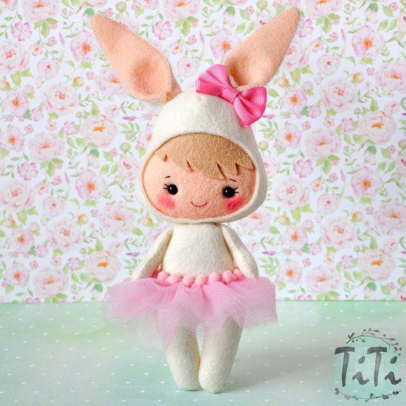Felt bunny doll, Cute girl costume bunny, Easter bunny decoration ornament, Handmade Felt Doll, Decorative rabbit doll
