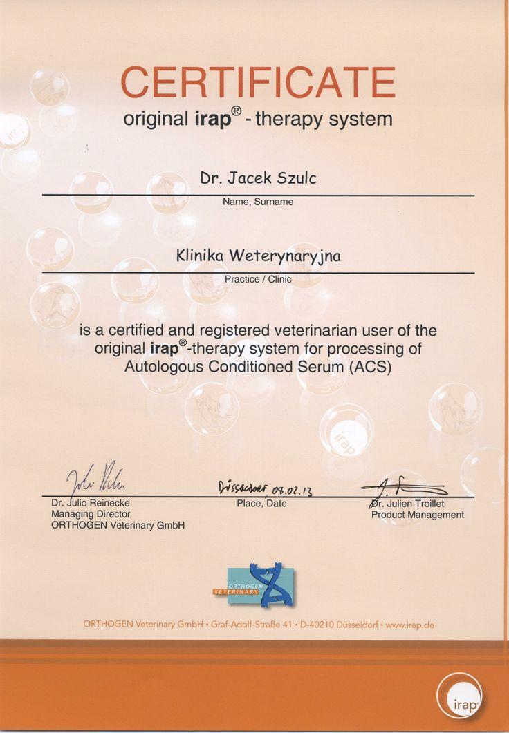 certifikat,jedyni w województwie Łodzkim,terapia na stawy,irap #lodz #weterynarz