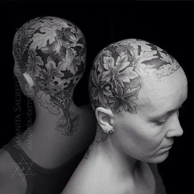 tatouage crane cuir chevelu
