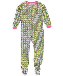 """Rene Rode Big Girls' """"Bedtime Emojis"""" Footed Pajamas (Sizes 7 – 16) - Cookie's"""