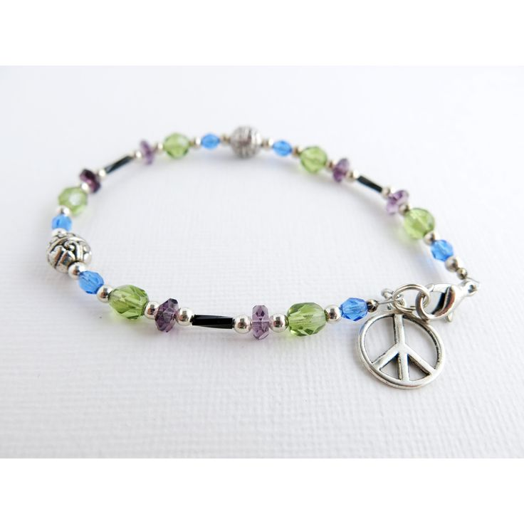 """Peace Charm Anklet - Czech Glass Anklet - Amethyst Purple Olive Green Sapphire Blue - 8"""" - Rhodium Lobster Claw Clasp"""