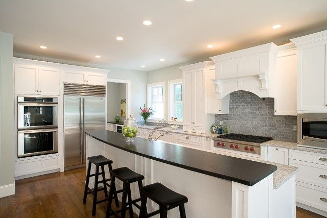 Best Houzz White Shaker Subway Tile Wood Floor White Cabinets 400 x 300