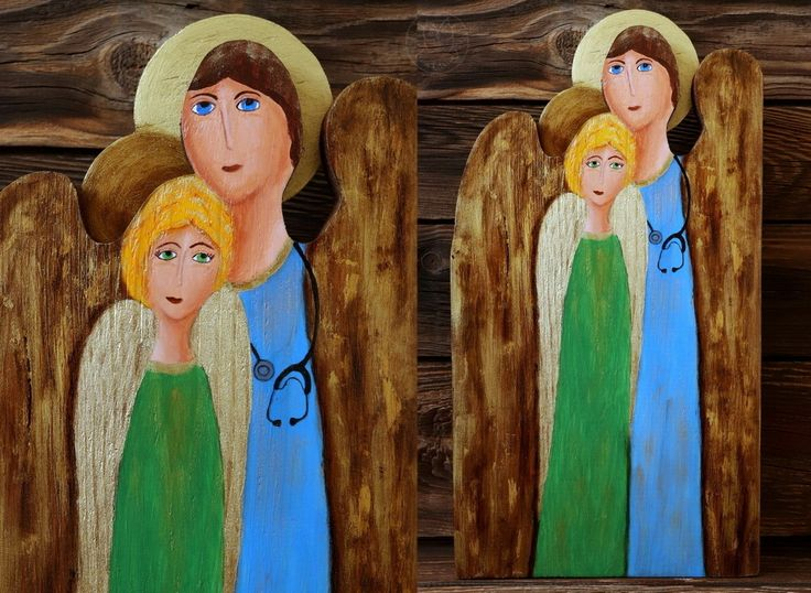 Two angels handpainted on reclaimed wood, unique gift
