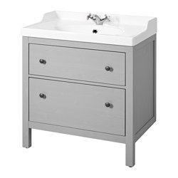 IKEA - HEMNES / RÄTTVIKEN, Waschbeckenschrank/2 Schubl., grau, , Leicht laufende, sanft schließende Schubladen mit Ausziehsperre.Voll ausziehbar für leichten Zugriff und guten Überblick über den Inhalt.Der beigepackte Siphon kann problemlos an Abfluss, Waschmaschine und Trockner angeschlossen werden, da er biegsam ist.Das einzigartige Design des Siphons ermöglicht den Einbau einer Schublade mit normaler Tiefe.