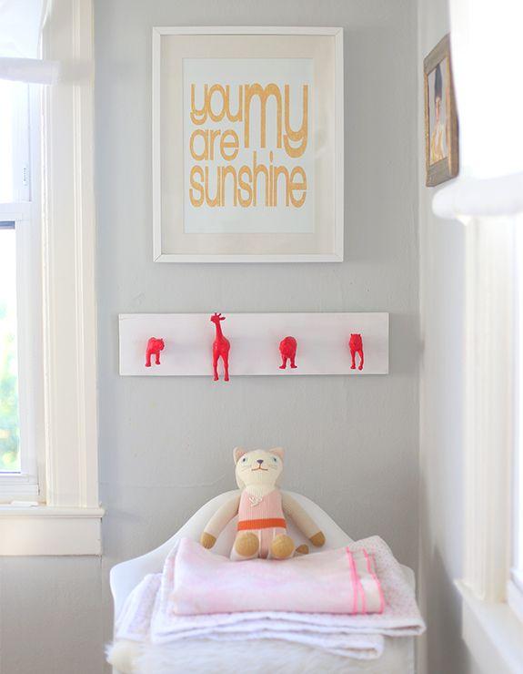 DIY Neon Animal Nursery Wall Hooks | Say Yes to Hoboken