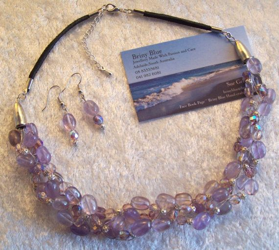 Crochet Wire Amethyst Necklace with by Sueperbartandjewels on Etsy