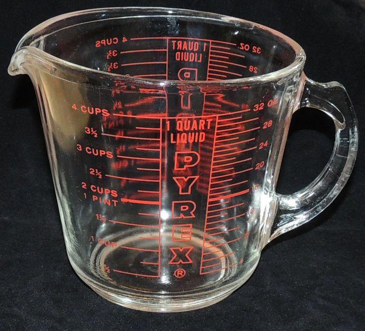 Vtg Pyrex Glass 4 Cup Measuring 1 Quart 532 0 18 D Handle
