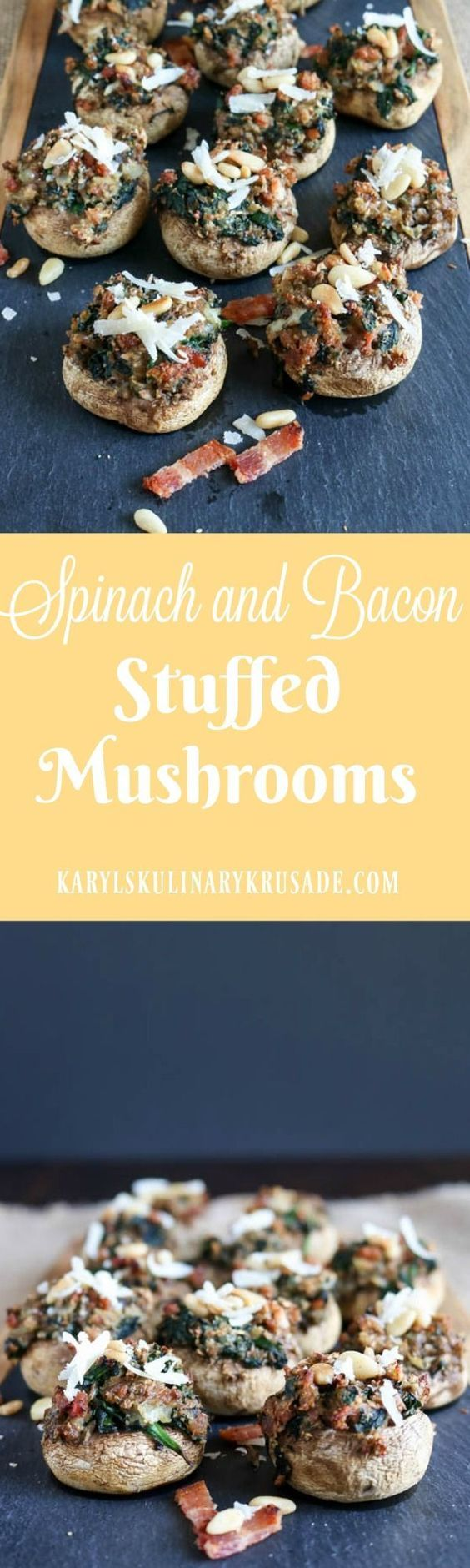 The hearty bites of goodness in these Spinach and Bacon Stuffed Mushrooms will make you the hit of your next party. Baby spinach, thick-cut bacon, fresh parmesan and toasted pine nuts create a wonderful combination