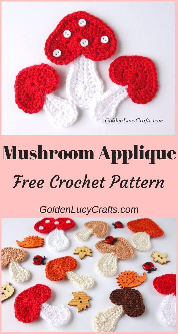 Crochet Mushroom Applique Patterns Crochet Crochet Patterns