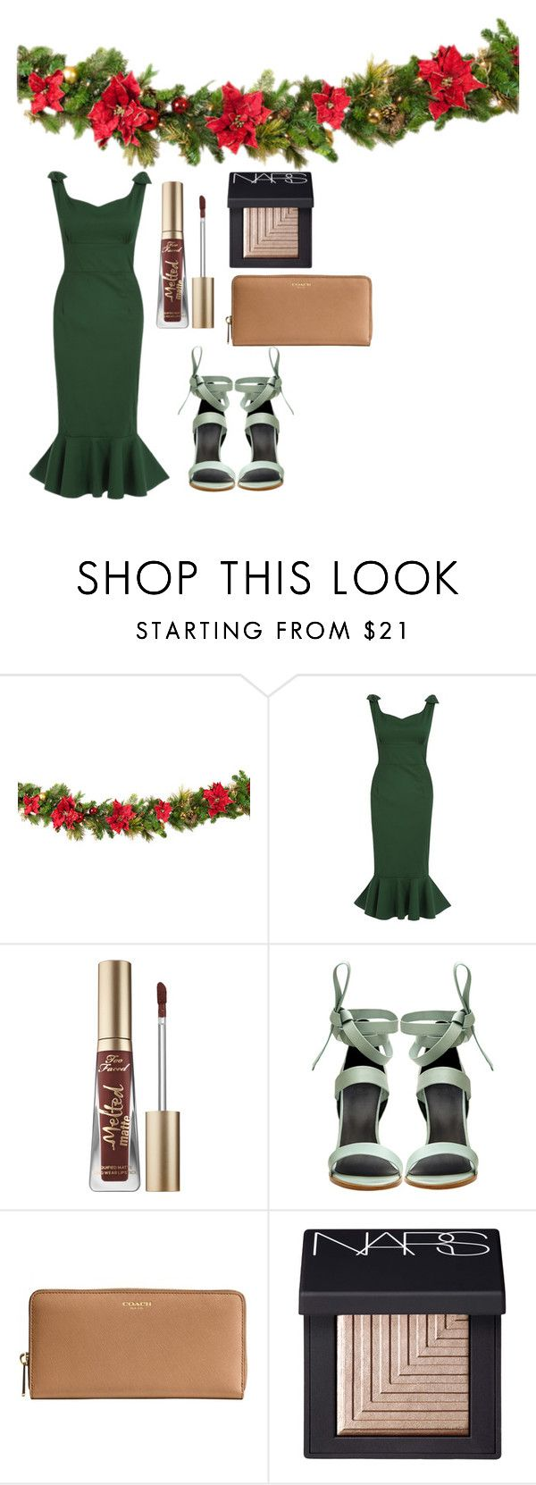 """""""Naughty or Nice"""" by shannondoody on Polyvore featuring Too Faced Cosmetics, TIBI, Coach, NARS Cosmetics, Christmas, presents, santa, 2016 and xmas"""