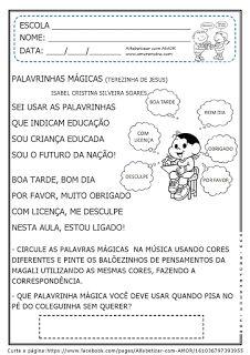 Alfabetizar com AMOR: MÚSICA PARA TRABALHAR AS PALAVRINHAS MÁGICAS - 2º PERÍODO/ 1º ANO