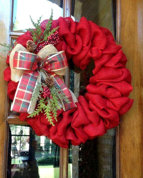 Guirnalda de arpillera invierno guirnalda guirnalda por WreathChick