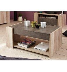 Table basse très design en chêne (coton) et béton foncé.