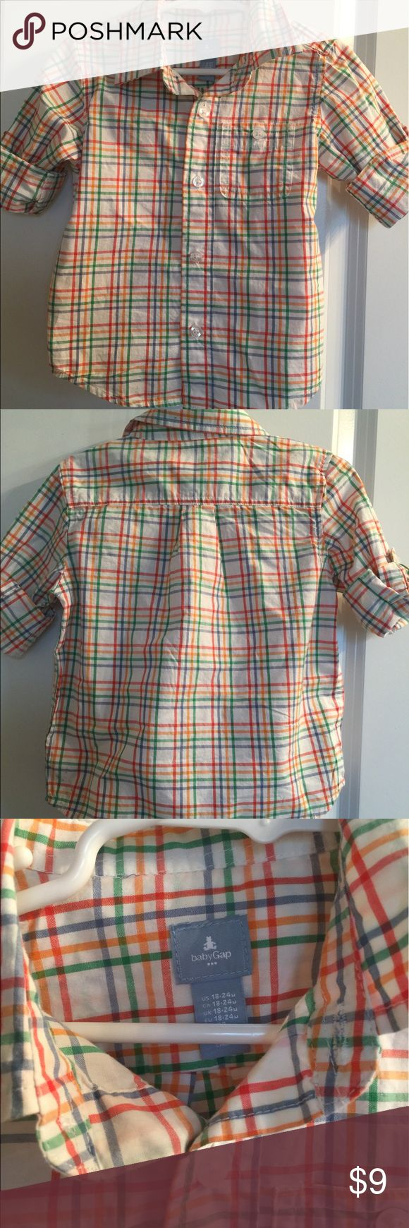 Baby Gap boys button up. 18-24 months. Baby Gap boys button up. Worn once on Easter. Size 18-24 months. White with green, blue, red and yellow stripes. I accept reasonable offers! GAP Shirts & Tops Button Down Shirts
